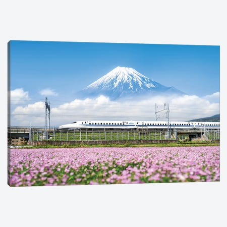 Shinkansen Bullet Train With Mount Fuji Canvas Print #JNB99} by Jan Becke Canvas Wall Art