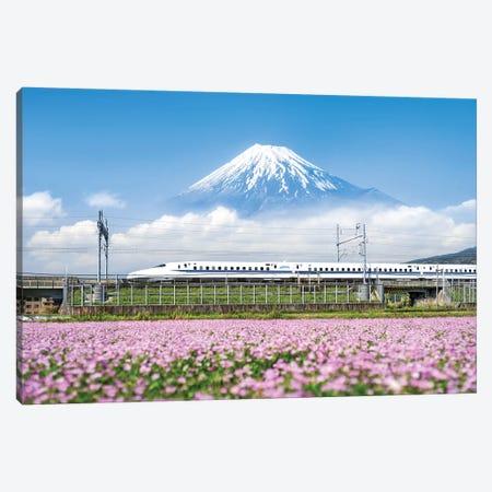 Shinkansen Bullet Train With Mount Fuji Canvas Print #JNB99} by Jan Becke Canvas Wall Art