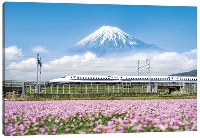 Shinkansen Bullet Train With Mount Fuji Canvas Art Print