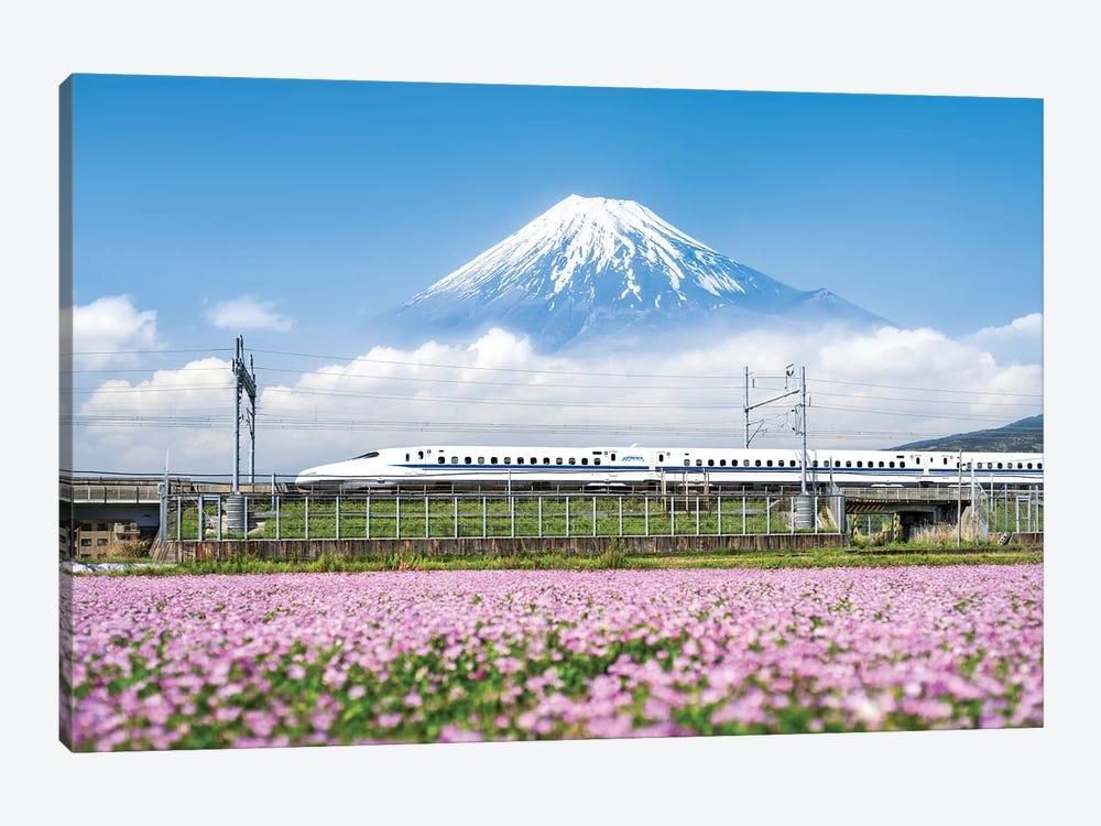 Shinkansen Bullet Train With Mount Fuji by Jan Becke 1-piece Canvas Art Print