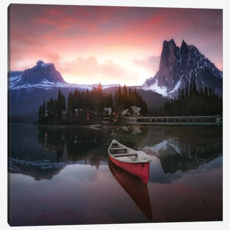 Rocky Mountains The Boat At Sunrise 7R24696 3-Piece Canvas #JND2} by Joanaduenas Art Print