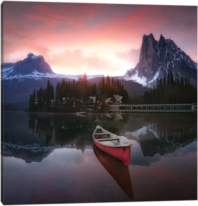 Rocky Mountains The Boat At Sunrise 7R24696 Canvas Art Print