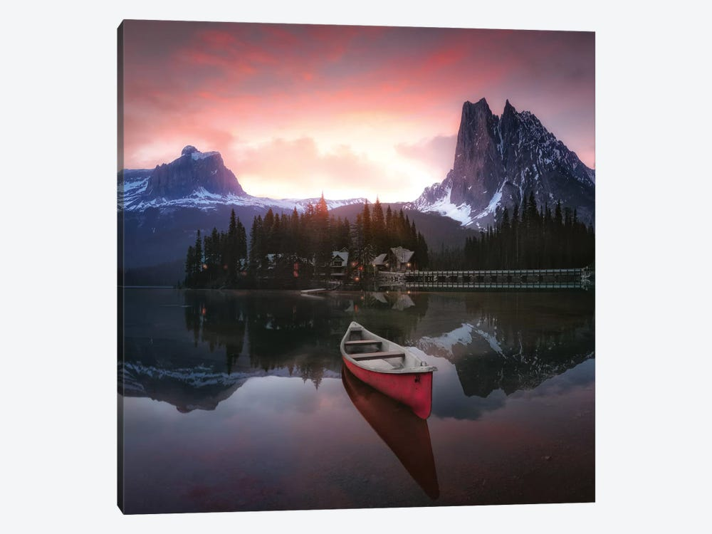 Rocky Mountains The Boat At Sunrise 7R24696 by Joanaduenas 1-piece Canvas Art Print