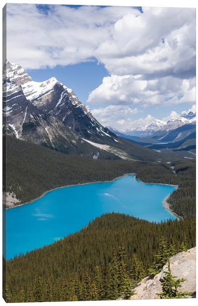 Banff National Park, Alberta, Canada. Peyto Lake Along The Icefields Parkway Scenic Drive. Canvas Art Print