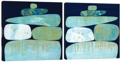 Blue Pinnacle Diptych Canvas Art Print