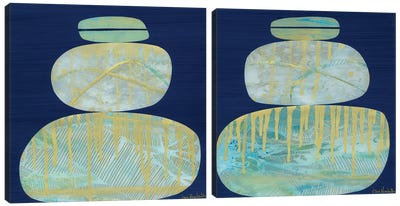 Gold Mist Diptych Canvas Art Print