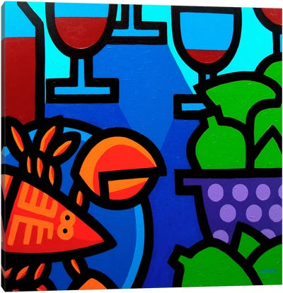 Lobster Wine And Limes Canvas Art Print