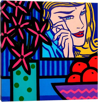 Still Life With Lichtenstein Crying Canvas Art Print
