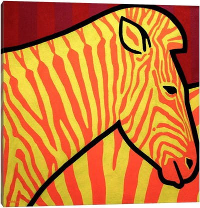 Cadmium Zebra Canvas Art Print