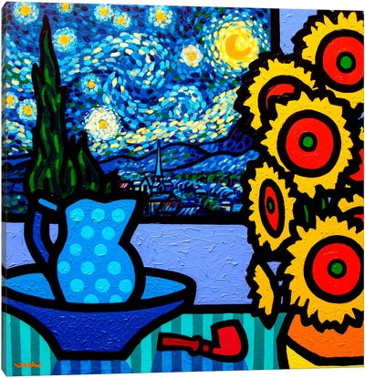 Still Life With Starry Night Canvas Art Print