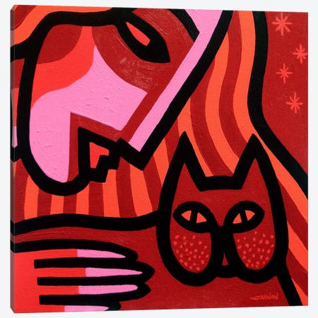 Cat Woman Canvas Print #JNN4} by John Nolan Canvas Artwork