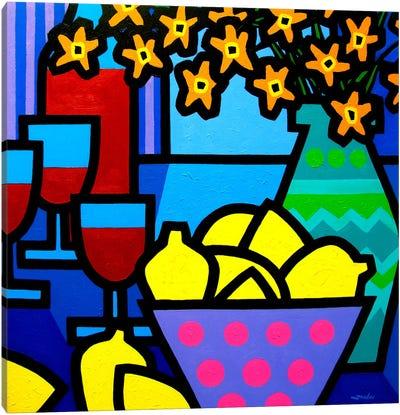 Wine, Lemons and Flowers Canvas Print #JNN54