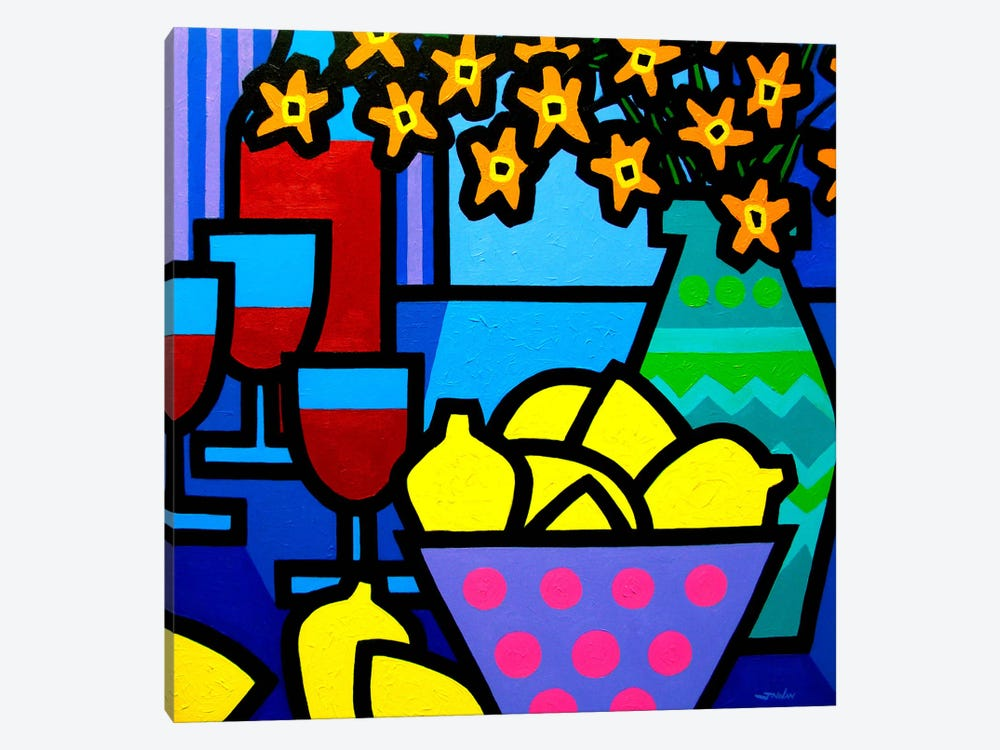 Wine, Lemons and Flowers by John Nolan 1-piece Canvas Art