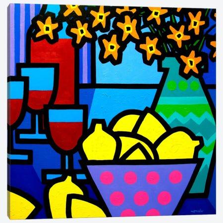 Wine, Lemons and Flowers Canvas Print #JNN54} by John Nolan Art Print