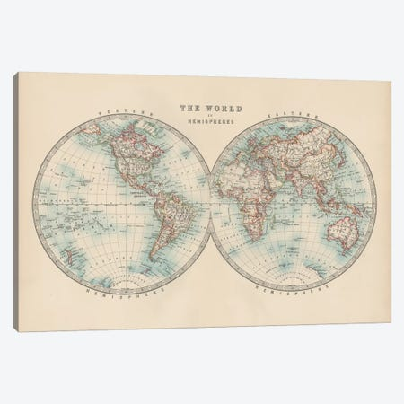 Johnston's World in Hemispheres Canvas Print #JNT16} by Johnston Art Print