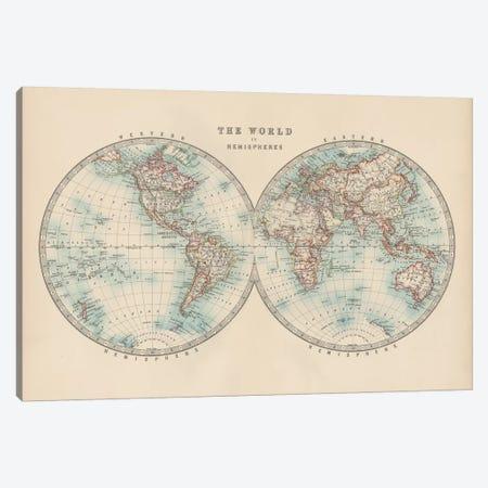 Johnston's World in Hemispheres Canvas Print #JNT16} by Johnston Art Print