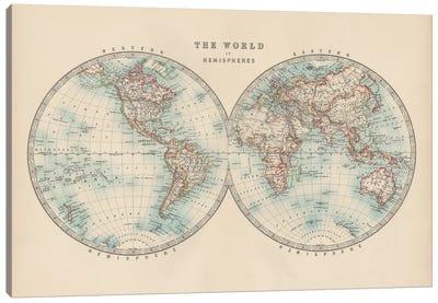 Johnston's World in Hemispheres Canvas Art Print