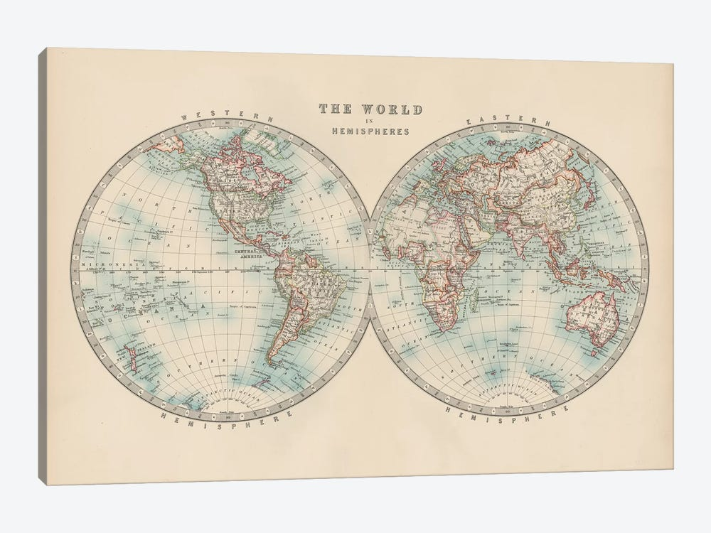 Johnston's World in Hemispheres by Johnston 1-piece Canvas Print