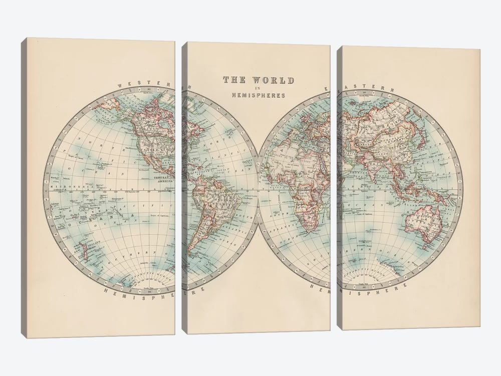 Johnston's World in Hemispheres by Johnston 3-piece Art Print