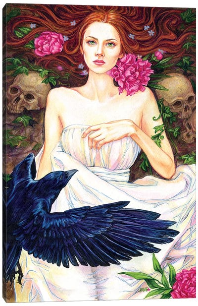Crow And Pink Peonies Canvas Art Print