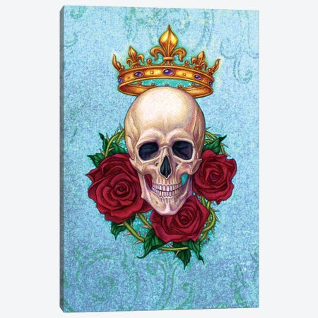 Crown, Skull And Roses Canvas Print #JNW16} by Jane Starr Weils Canvas Artwork