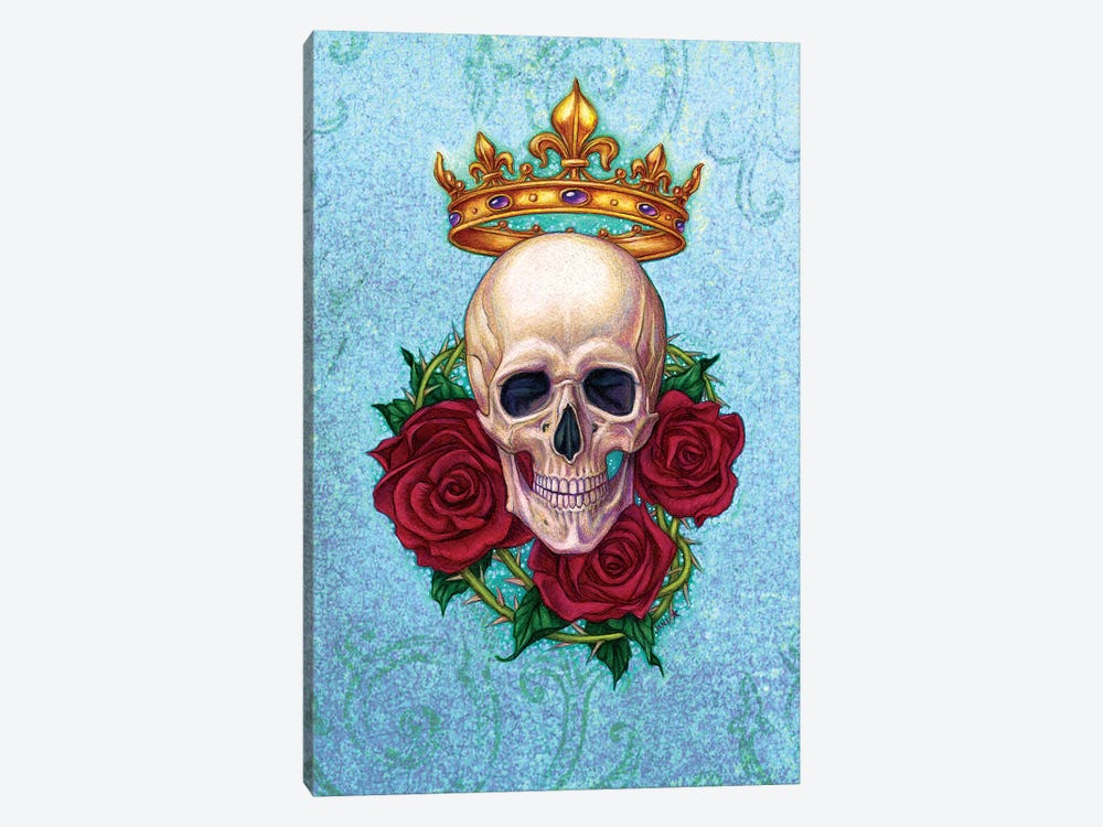 Crown, Skull And Roses by Jane Starr Weils 1-piece Canvas Art Print
