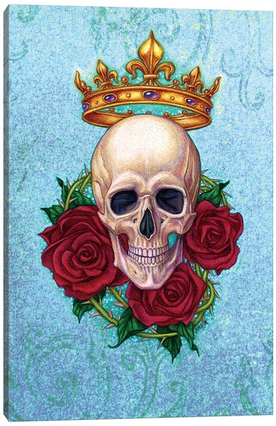 Crown, Skull And Roses Canvas Art Print