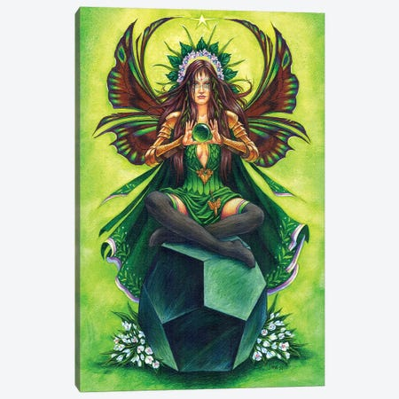 Emerald Fairy Stone Keeper Canvas Print #JNW19} by Jane Starr Weils Art Print