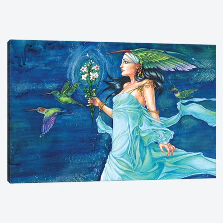 Hummingbird Queen Canvas Print #JNW34} by Jane Starr Weils Canvas Artwork