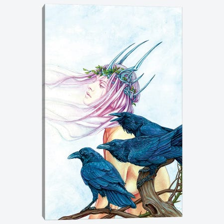Morrighan And Her Ravens 3-Piece Canvas #JNW44} by Jane Starr Weils Art Print