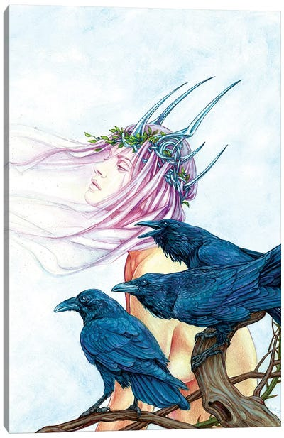 Morrighan And Her Ravens Canvas Art Print