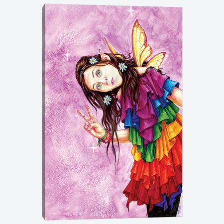 Rainbow Peace Faerie Canvas Print #JNW49} by Jane Starr Weils Canvas Wall Art