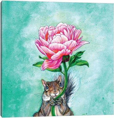 Squirrel Presenting Peony Canvas Art Print