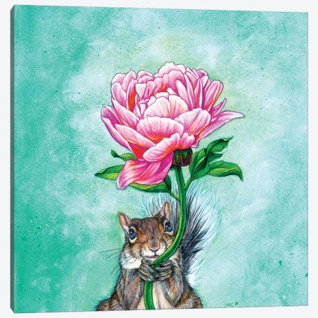 Squirrel Presenting Peony Canvas Print #JNW56} by Jane Starr Weils Canvas Artwork