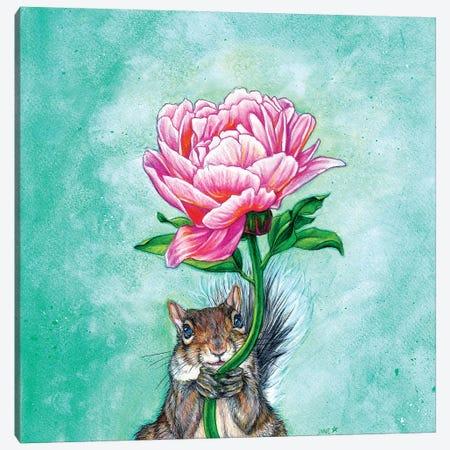 Squirrel Presenting Peony Canvas Print #JNW56} by Jane Starr Weils Canvas Artwork