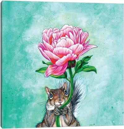 Squirrel Presenting Peony Canvas Art Print
