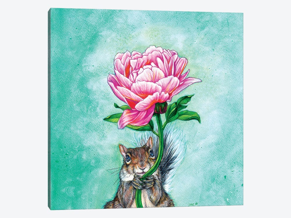Squirrel Presenting Peony by Jane Starr Weils 1-piece Art Print