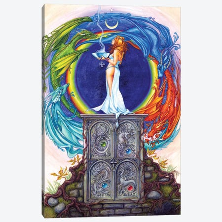 Summoning The Elemental Dragons Canvas Print #JNW58} by Jane Starr Weils Canvas Print