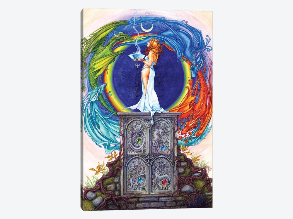Summoning The Elemental Dragons by Jane Starr Weils 1-piece Canvas Art Print