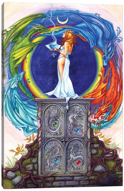 Summoning The Elemental Dragons Canvas Art Print