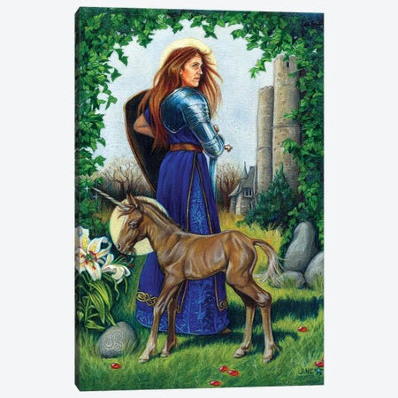 Unicorn Guardian Canvas Print #JNW61} by Jane Starr Weils Canvas Wall Art