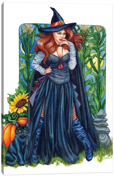 Autumn Solstice Witch Canvas Art Print