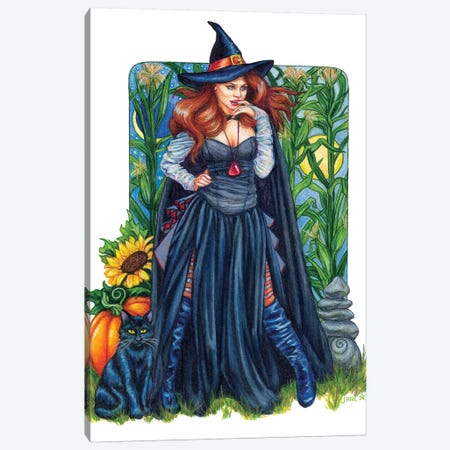 Autumn Solstice Witch Canvas Print #JNW6} by Jane Starr Weils Canvas Artwork