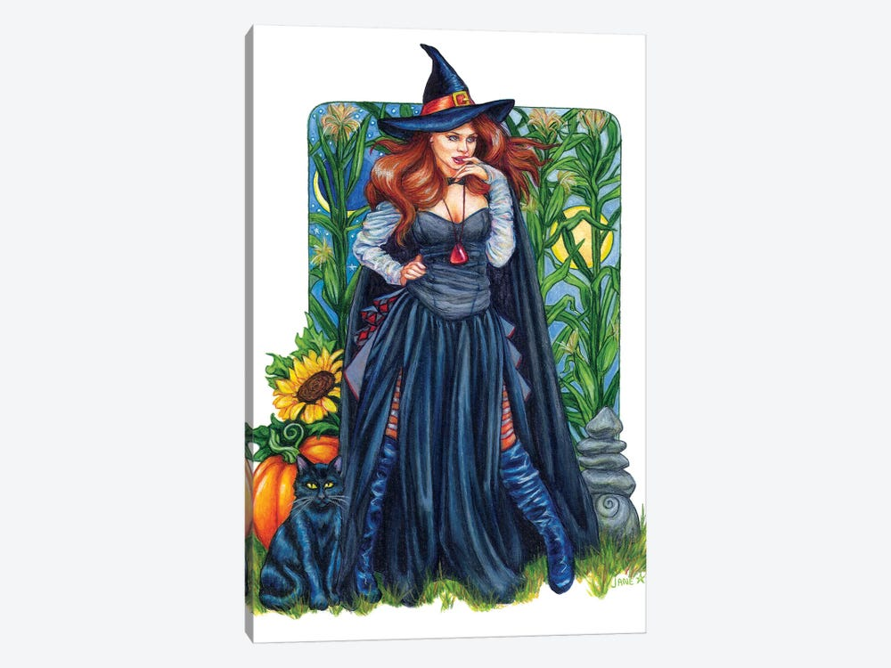 Autumn Solstice Witch by Jane Starr Weils 1-piece Canvas Wall Art