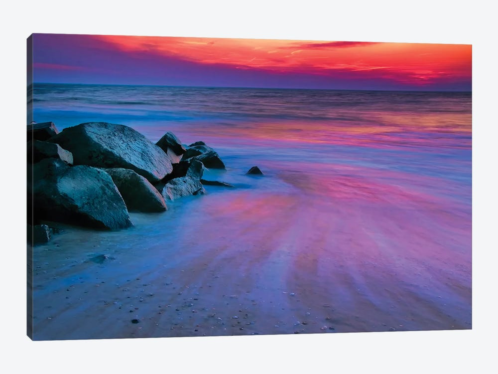 Colorful Sunset, Delaware Bay, Cape May, New Jersey, USA by Jay O'Brien 1-piece Canvas Wall Art