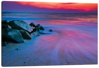 Colorful Sunset, Delaware Bay, Cape May, New Jersey, USA Canvas Art Print