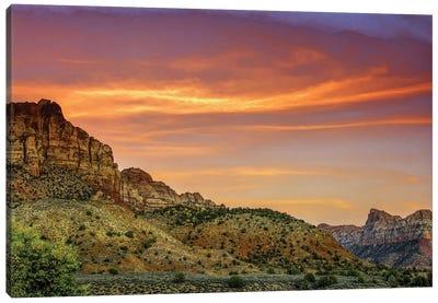 Cloudy Canyon Landscape, Zion National Park, Utah, USA Canvas Art Print