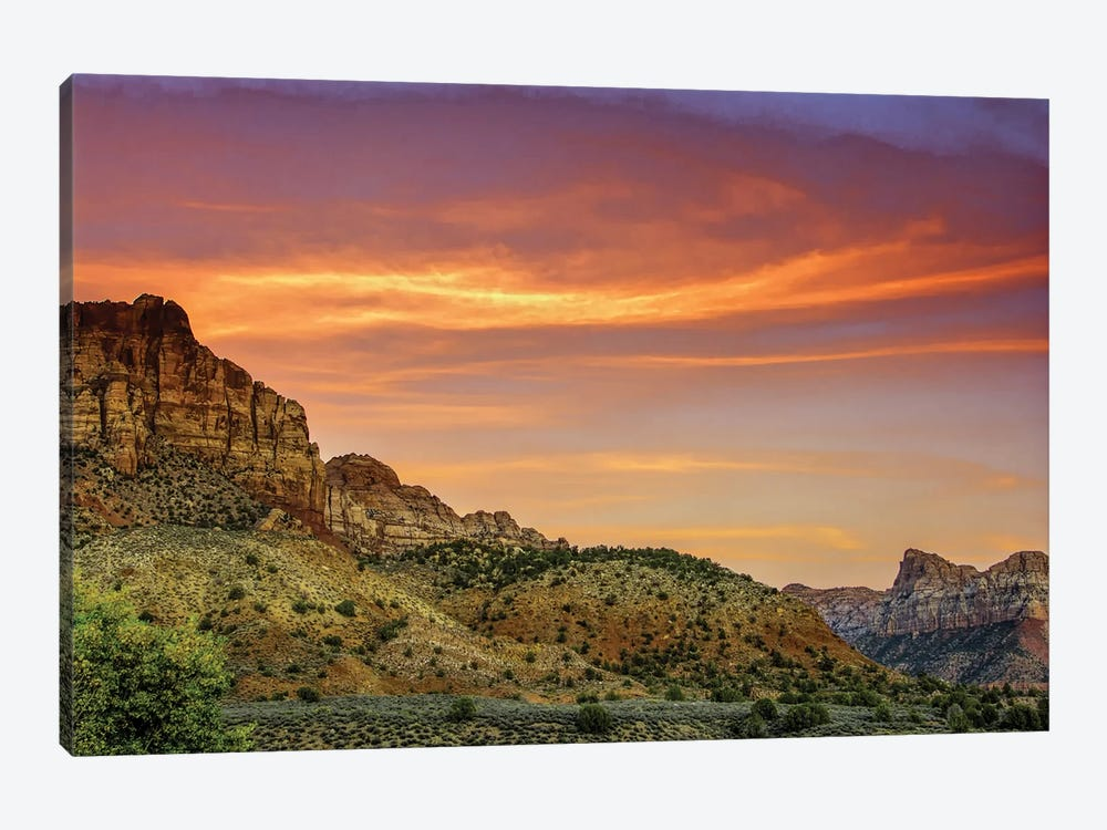Cloudy Canyon Landscape, Zion National Park, Utah, USA by Jay O'Brien 1-piece Canvas Wall Art