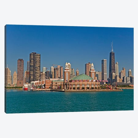 Navy Pier And Downtown Skyline, Chicago, Cook County, Illinois, USA Canvas Print #JOE2} by Joe Restuccia III Canvas Art Print