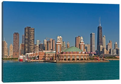 Navy Pier And Downtown Skyline, Chicago, Cook County, Illinois, USA Canvas Art Print